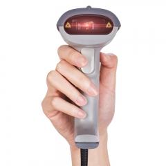 得力(deli)14880 一维码扫描枪扫码枪商品条码枪 有线USB即插即用(白色)【2个/组】