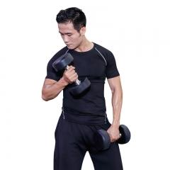 范迪慕 健身服运动套装四件套健身衣紧身压缩衣男女训练跑步服 FNZ9001-黑色拼线-短袖四件套-XXXL