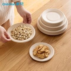 茶花 一次性纸盘子纸碟子圆盘子 24只量贩装 甘蔗纸浆盘面直径(205mm)G09017*3
