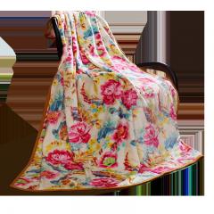富安娜家纺 毛毯春秋毯子午睡毯多功能双人盖毯被 保暖床单冬天 法兰绒毯 朝花夕拾 1.8*2米 红色