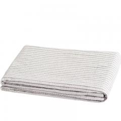 大朴(DAPU)毯子 A类纯棉色织条纹毛巾被 舒适毛毯盖毯 薄被 空调毯 浅米色 150*200cm