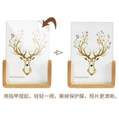 花间集 实木相框摆台 6寸U形相框竖款 亚克力面板 榉木色