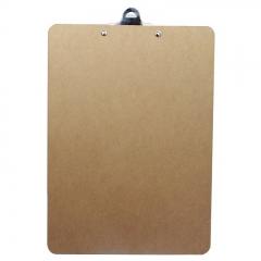 得力(deli)A4原木质感金属蝴蝶夹书写板夹文件夹 棕色9227