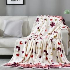 雅鹿·自由自在 毛毯加厚法兰绒毯子 午睡空调毯珊瑚绒毛巾被盖毯冬季床上床单 150*200cm 星月传奇
