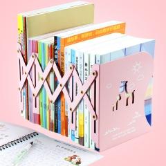 猫太子(MAOTAIZI)创意书立可伸缩书立学生用桌上简易书靠架收纳放书架折叠书夹书挡 粉色小鹿