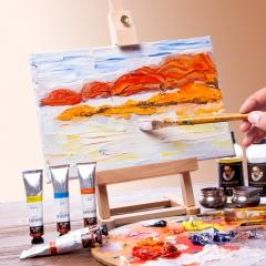 中盛画材 12色油画颜料绘画工具初学者全套用品初学儿童油画材料布框笔美术用具画笔调色油稀释剂松节
