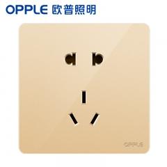欧普照明(OPPLE)开关插座面板家用暗装墙壁五孔纯平圆角86型墙式开关 k12金色 五孔