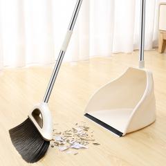 家杰优品 扫把簸箕套装家用扫地扫水笤帚大号不锈钢软毛地板清洁工具乳白色 JJ-202