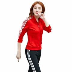 范迪慕 运动套装女秋冬情侣时尚休闲运动跑步健身服卫衣男  FDM1803-女款红色-外套两件套-L