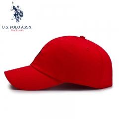 U.S.POLO 帽子男女四季通用棒球帽防晒遮阳帽潮流鸭舌帽运动经典纯色街舞嘻哈帽 SMZOO-60002 红
