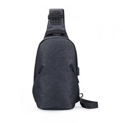 布维斯(BUWEISI)男士胸包休闲运动单肩斜挎包户外腰包潮流旅行小背包 s8027深灰色