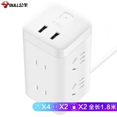 公牛(BULL) 大魔方智能USB插座 插线板/插排/排插/接线板/拖线板 GN-UU2126 白色魔方USB插座全长1.8米