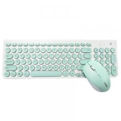 黑爵(AJAZZ)325i 键鼠套装 无线键鼠套装 办公键鼠套装 静音 复古圆键帽 薄荷绿 办公键鼠 无线键鼠