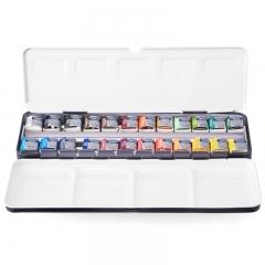 温莎牛顿 歌文水彩颜料 固体水彩 户外写生水彩绘画颜料 24色半块铁盒套装