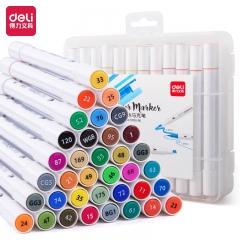 得力(deli)36色双头细杆马克笔 学生水彩笔双头绘画彩笔手绘漫画笔设计绘画笔 70700-36