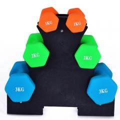 诚悦浸塑磨砂男女士通用哑铃运动健身瘦臂家用训练套装1/2/3公斤3对套装 约26磅送三角哑铃架CY-106