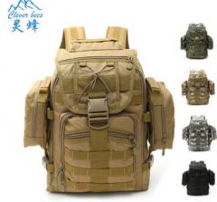 户外登山包运动迷彩双肩包多功能组合军迷战术背包 货号100.C44 黑色