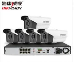 海康威视400万监控设备套装高清网络摄像头 夜视防水防尘 硬盘录像机POE供电8-16路 5路套装 含1T硬盘 货号100.C154