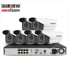 海康威视400万监控设备套装高清网络摄像头 夜视防水防尘 硬盘录像机POE供电8-16路 6路套装 含1T硬盘 货号100.155