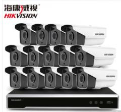 海康威视400万监控设备套装高清网络摄像头 夜视防水防尘 硬盘录像机POE供电8-16路 14路套装 含1T硬盘 货号100.C163
