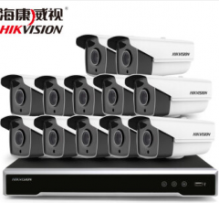 海康威视400万监控设备套装高清网络摄像头 夜视防水防尘 硬盘录像机POE供电8-16路 12路套装 含6T硬盘 货号100.C217