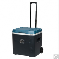 IGLOO易酷乐49-57L拉杆保温箱冷藏箱车载户外便携冰箱保鲜箱进口 49升碳灰蓝  货号100.ZD372