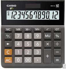 卡西欧(CASIO)MH-12-BK 小型 12位 双电源 超宽计算器 黑色 专业计算系列  货号100.ZD600 黑色 12位小型超宽版
