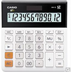 卡西欧(CASIO)MH-12-BK 小型 12位 双电源 超宽计算器 黑色 专业计算系列  货号100.ZD600 白色 12位小型超宽版