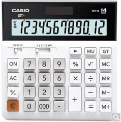 卡西欧(CASIO)DH-14-BK 中型 14位大额计算 双电源 超宽计算器 黑色 专业计算系列  货号100.ZD601 白色 14位中型超宽版
