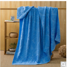 迎馨家纺 全棉提花纯色毛巾被 多功能透气空调毯子午睡沙发四季毯盖毯 蓝色 150*200cm  货号100.ZD612 提花毛巾被蓝色