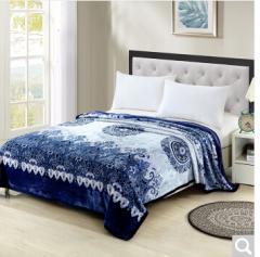 雅鹿自由自在 毛毯家纺 加厚法兰绒毯子 午睡空调毯毛巾被盖毯 2*2.3米 约2.8斤 青色瑰丽  货号100.ZD614