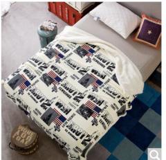 迎馨 珊瑚绒法兰绒羊羔绒双层毯 130*160cm 自由女神   货号100.ZD617