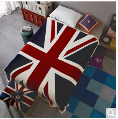 迎馨 珊瑚绒法兰绒羊羔绒双层毯 130*160cm 英国旗  货号100.ZD618