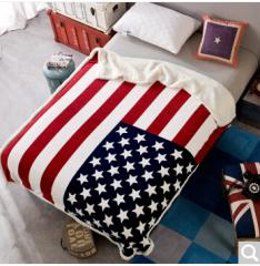 迎馨 珊瑚绒法兰绒羊羔绒双层毯 130*160cm 美国旗  货号100.ZD619