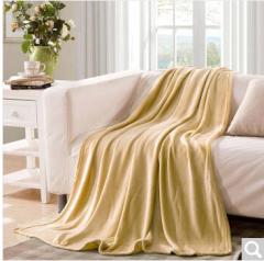 迎馨 毛毯家纺 四季毯子可做盖毯床单午休被素色珊瑚绒毛毯 150*200cm 浅咖啡色  货号100.ZD621