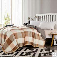 迎馨 床品家纺 印花加厚冰貂绒珊瑚绒毯子盖毯床单午休被法莱绒毛毯 良品格子(粉)  货号100.ZD625