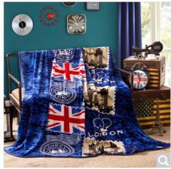 迎馨 床品家纺 双人四季盖毯法兰绒柔软舒适精致盖毯 150*200cm 英伦旗帜  货号100.ZD627