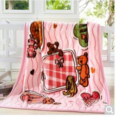 雅鹿·自由自在 毛毯家纺 儿童毯子 云貂绒毛毯 宝宝盖毯小被子 动物伙伴-粉 110cm*140cm  货号100.ZD628