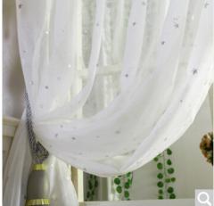 铭聚布艺简约现代客厅卧室窗纱白纱成品纱帘 璀璨星空纱 挂钩式1.5米宽*2.65米高 2片装  货号100.ZD673