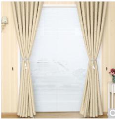 铭聚布艺简约现代烫银三层梭织遮光窗帘成品遮阳布璀璨星空 米色 挂钩式 1.5米宽*2.65米高 2片装   货号100.ZD678