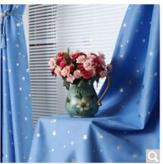 铭聚布艺简约现代烫银三层梭织遮光窗帘成品遮阳布璀璨星空 天蓝色 挂钩式 1.5米宽*2.65米高 2片装   货号100.ZD679
