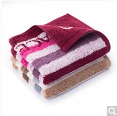 洁丽雅(Grace)毛巾家纺 G20指定品牌阿瓦提长绒棉毛巾提花面巾加厚加大吸水毛巾二条装 红/棕 125g/条 76*34cm  货号100.ZD683