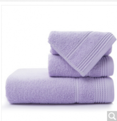 洁丽雅(Grace)毛巾家纺 纯棉素色吸水毛巾三件套 浴巾*1毛巾*2 紫色  货号100.ZD700 紫色
