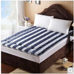 九洲鹿家纺 榻榻米可折叠学生加厚防滑床褥垫子 深蓝条纹-1.5x2m 货号100.ZD707 1.5mx2.0m
