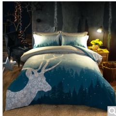 九洲鹿全棉床上用品斜纹高档定版被套魔幻森林1.5/1.8米床2M*2.3M 货号100.ZD723 魔幻森林