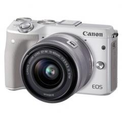 佳能(Canon)EOS M3(EF-M 15-45mm f/3.5-6.3 IS STM) 微型单电套机 白色 轻便 小巧 广角  货号100.X678