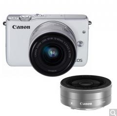 佳能(Canon)EOS M10微型单电双头套机 白色(变焦EF-M 15-45mm)& (定焦EF-M 22mm f/2 STM) 货号100.X685