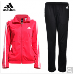 阿迪达斯adidas 休闲运动服 女款套装 跑步健身裤 羽毛球服 BK4671 红黑 S-XL码 货号100.ZD760 S