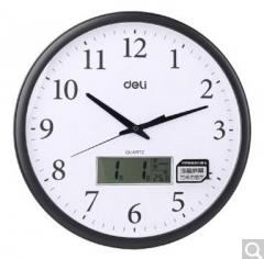 得力8951大时钟居家办公大号挂钟带日历温度显示万年历液晶电子钟  货号100.X693