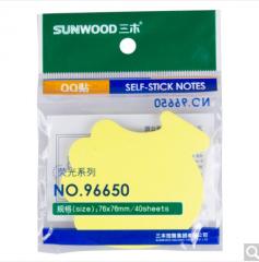 三木(SUNWOOD) 96650 荧光指示标签/便签纸/便利贴(76×76mm) 随机 货号100.ZD786